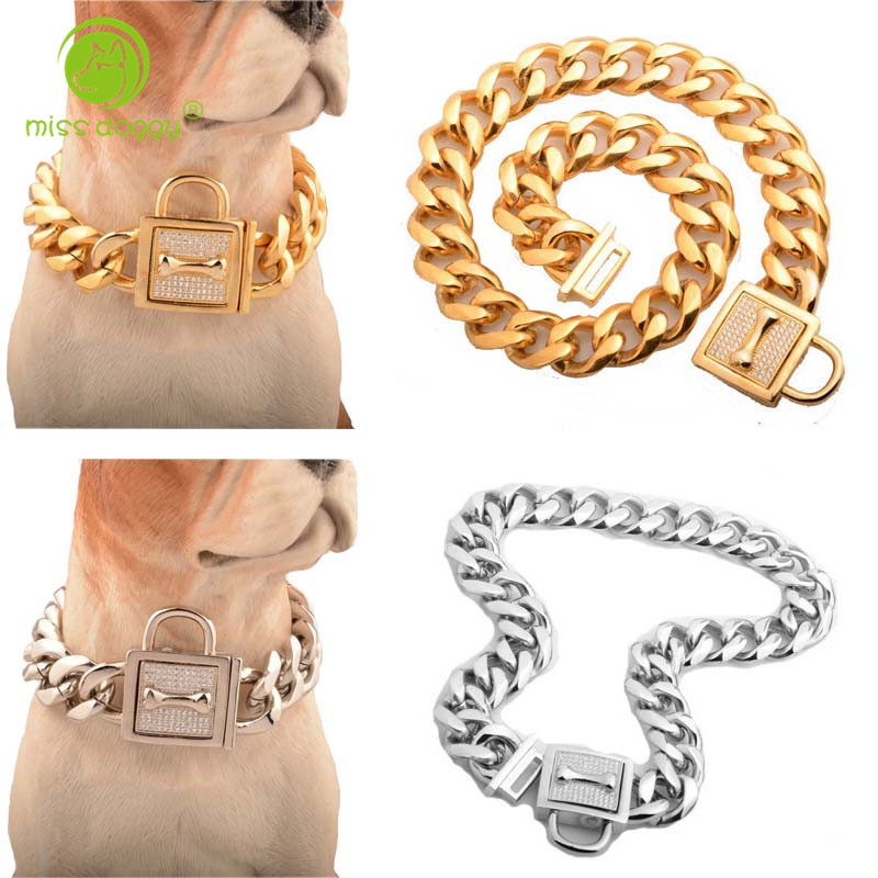 19mm coleira de cão de alta qualidade para cães grandes forte prata ouro corrente de aço inoxidável jewled treinamento cães choke chain colares 10