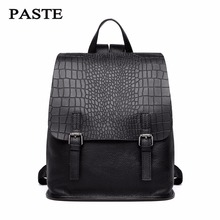 PASTE Brand 100% Genuine leather Women Backpack Genuine Leather Nappa Leather Women Backpack Bags  Crocodile Pattern Backpack