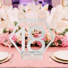 Зеркальные Свадебные сиденья карты шестигранные таблички на стол с цифрами для свадебной вечеринки декор Серебро Золото акриловый номер день рождения геометрический