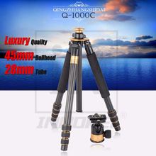 QZSD Q1000C 탄소 섬유 전문 삼각대 45mm 파노라마 28mm 튜브 15kg로드 용량 럭셔리 DSLR 카메라
