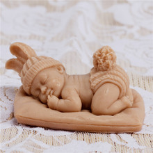 Silicone Soap Mold 3D Baby Dressed Bunny Chocolate Fondant Mould Cake Decorating Tools 3d carrot rabbit cake mould easter bunny silicone mold cupcake topper fondant cake decorating tools