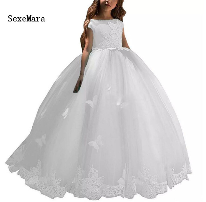 Lovely White Ball Gown   Flower     Girls     Dresses   Lace Applique Cap Sleeve Open Back   Girls   First Communion   Dress   Pageant Party Gown