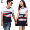 2016 Summer New Hot Sale Matching Couple Clothes Casual Striped Cute Sweet Tops Slim Cotton Korean Couple T Shirts For Lovers