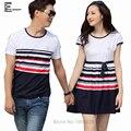 2016 Verão New Hot Sale Matching Casal Roupas Casuais Listrado Doce bonito Cobrem o Algodão Fino Casal Coreano Camisas de T Para amantes