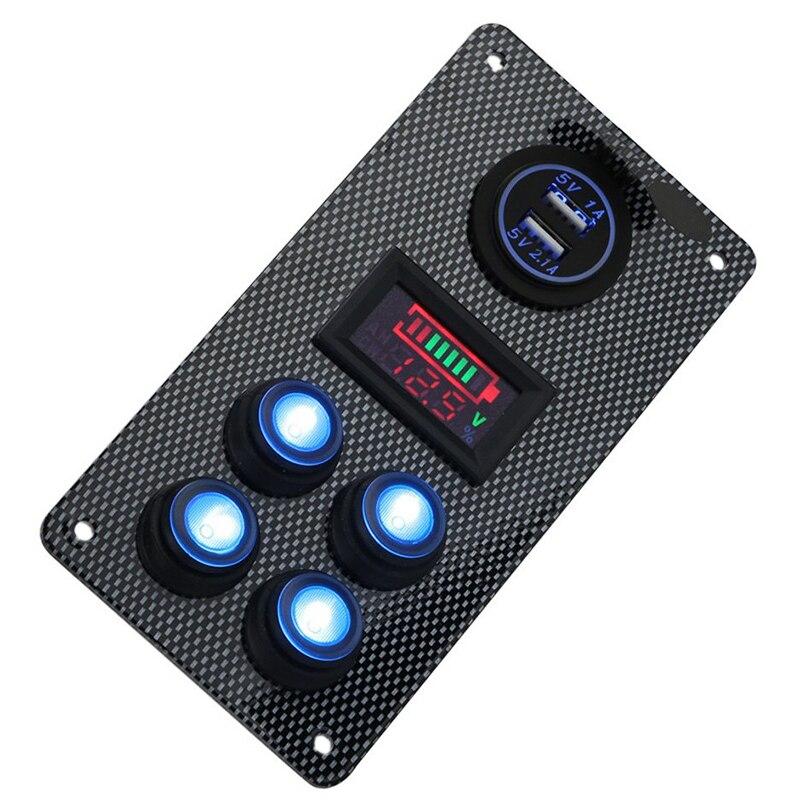 Boat Marine Car On-Off Blue LED Rocker Switch Panel Dual USB Charger Voltmeter Gauge
