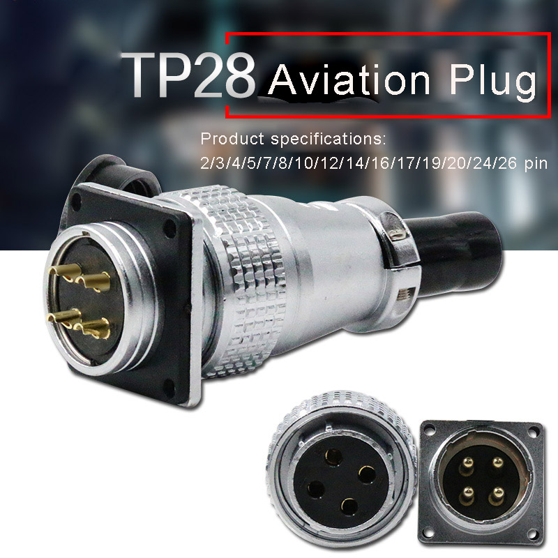 Aviation Connector Plug Socket TP28 2 3 4 5 7 8 10 12 14 16 17 19 20 24 26pin Metal Connectors for Automation Industrial Equipme
