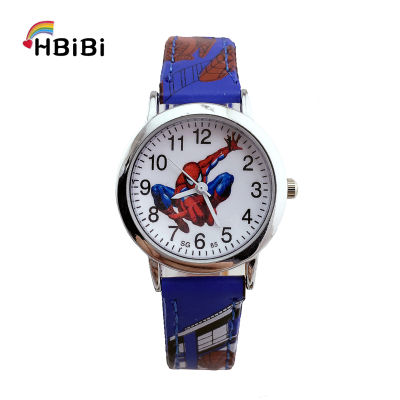Leather Strap Alloy Dial Spiderman Watch Children Kids Watches Fashion Casual Waterproof Wrist Watch For Kid Boys Girls Clock Z2