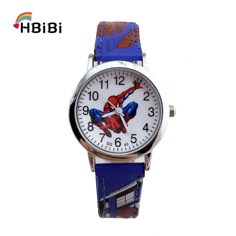 Leather Strap Alloy Dial Spiderman Watch Children Kids Watches Fashion Casual Waterproof Wrist Watch For Kid Boys Girls Clock Z2