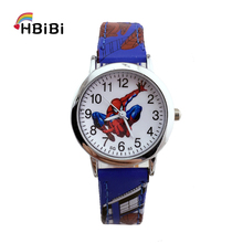Leather strap alloy dial Spiderman Watch children kids