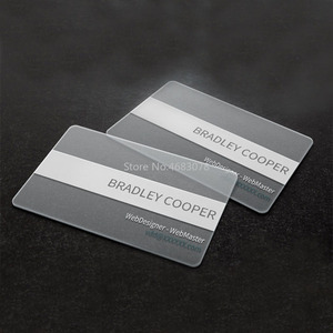 Image 4 - Pvc名刺パーソナライズデザイン 200 個/500 個マット顔/白インク透明なプラスチックの名刺印刷 85.5*54 ミリメートル