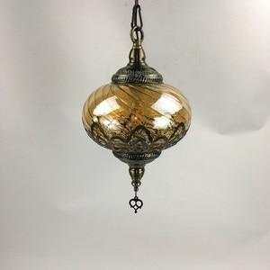Image 5 - Newest style Turkey ethnic customs Hollow carving lamp Romantic cafe restaurant bar tree pendant light Streamline glass lighting