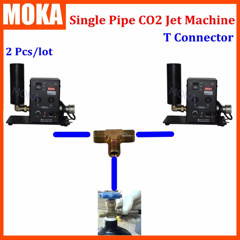 2 Pcs/lot single pipe co2 jet machine dmx co2 jet cannon Stage Effect Light 2pcs Co2 jet share co2 gas tank with T connector 8m stage co2 jet effect machine high pressure resin hose to connect with co2 gas tank