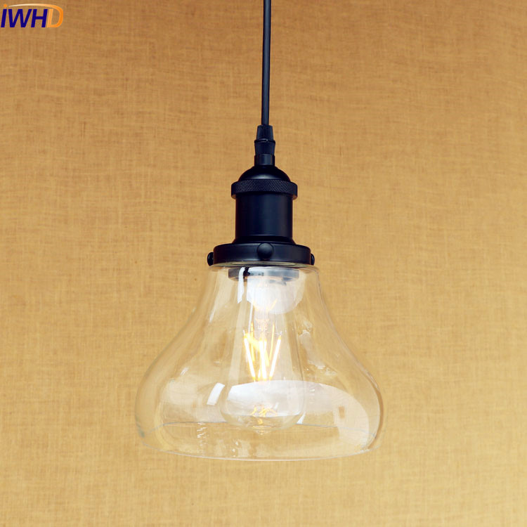 IWHD Loft Style Retro Edison Pendant Light Indoor Home Lighting Industrial Vintage Lamp Hanging Lights Lampen Galss Lampshade iwhd american edison loft style antique pendant lamp industrial creative lid iron vintage hanging light fixtures home lighting