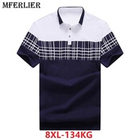 men plus size big shirt 6XL 7XL 8XL Summer short sleeve plaid Hipster large shirts contrast color turn down collar cotton blue