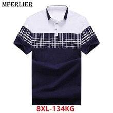 Camisa de talla grande para hombre, camisa de manga corta Hipster a cuadros, color contrastante, cuello vuelto, algodón, azul, 6XL, 7XL, 8XL