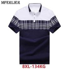 Gli uomini più il formato grande camicia 6XL 7XL 8XL Estate manica corta plaid Pantaloni A Vita Bassa grandi shirt di colore di contrasto girare giù il collare di cotone blu