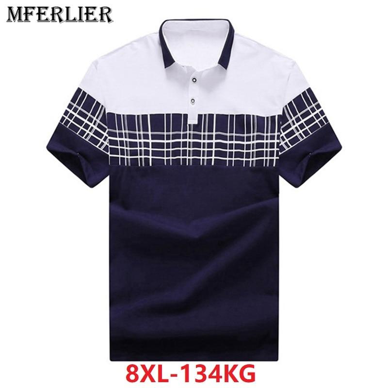 Men Plus Size Big Shirt 6XL 7XL 8XL Summer Short Sleeve Plaid Hipster Large Shirts Contrast Color Turn Down Collar Cotton Blue