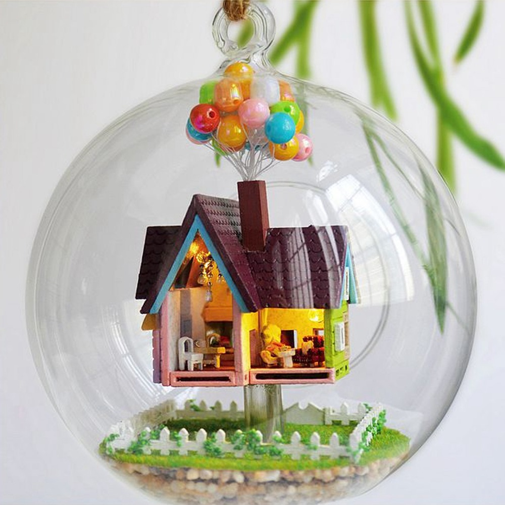 Miniature DIY Wooden UP <font><b>The</b></font> Movie Inspired 3D Toy Doll <font><b>House</b></font> Voice Control LED Light Crystal <font><b>Glass</b></font> Ball Kids Educational Toy