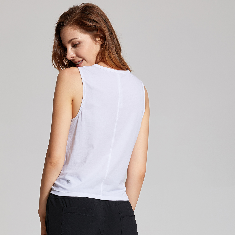 CRZ YOGA Womens Pima Cotton Workout Crop Tops High Neck Tops Sleeveless Casual Tank Tops