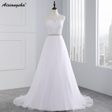 Cheap A-Line Lace Appliques Wedding Dress 2017 Vintage Plus Size Vestido de Novia with Beading Button Sash Sexy Robe De Mariage