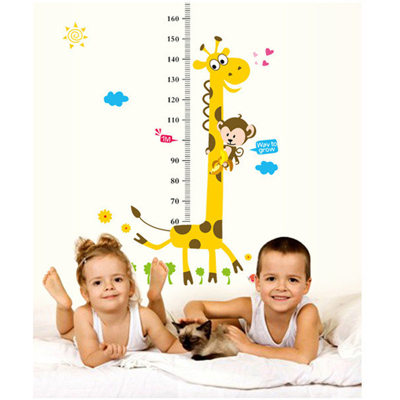2pcs wall stickers for kids rooms cartoon giraffe children height measurement scale wallpaper. Black Bedroom Furniture Sets. Home Design Ideas