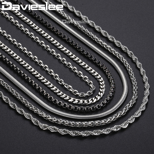 Davieslee Classic Stainless Steel Chain Necklaces For Men Snake Box Curb Chain  24