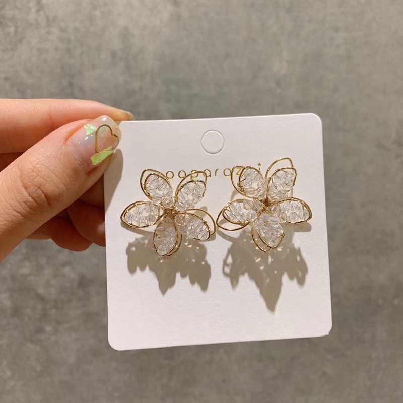 MENGJIQIAO Korean New Arrival Sweet Crystal Holiday Flower Stud Earrings For Women Fashion Elegant Oorbellen Bijoux Party Gifts