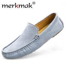 Merkmak Marca de Moda de Lujo Suave Mocasines Hombres Holgazanes Zapatos Para Hombre Pisos Suede Zapatos de Conducción de Cuero Genuino de la Alta Calidad