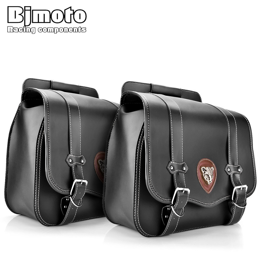 BJMOTO 2x Motorbike Saddlebags PU Leather Swingarm Bag Saddle Bags Side Tool Bags Storage For Harley Sportster for harley yamaha kawasaki honda 1 pair universal motorcycle saddle bags pu leather bag side outdoor tool bags storage undefined