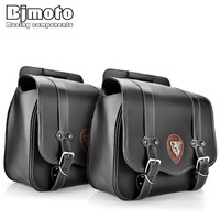 BJMOTO 2x Motorbike Saddlebags PU Leather Swingarm Bag Saddle Bags Side Tool Bags Storage For Harley Sportster