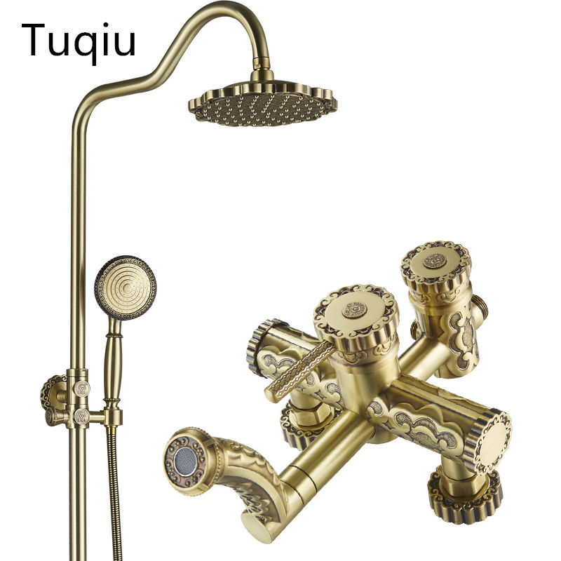 Luxury Antique Brass Carving Rainfall Shower Sets Faucet Mixer Tap With Tub Faucet Single Handles