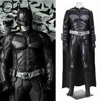 Batman Cosplay Costume Bruce Wayne Cape The Dark Knight Rises Cosplay PU Clothing Superhero Outfit Full Set Adult Men Hallowen