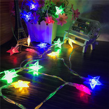 10M 80LEDs 3AA Battery Powered STAR Shaped Theme LED String Fairy Lights Christmas Holiday Wedding Decoration party Lighting free shipping led little star string lights battery operated 4m 80leds 10m 100leds 220v christmas wedding decoration fairy light