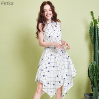 ARTKA 2019 Summer Women Dresses Fashion Plaid Flower Print Chiffon Dress A line Irregular Design Dress For Women LA15292X