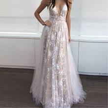 Bbonlinedress Lace Prom Dress 2019 Deep V-Neck Evening Dress Sexy Backless Evening Gowns Champagne Tulle Prom Party Dress lace pleated backless prom dress