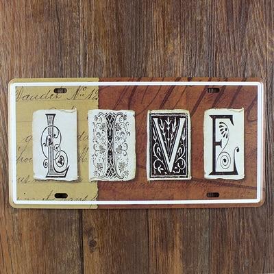 Live Car License Plate Vintage Tin Sign Bar Pub Home Kitchen Wall Decor Retro Metal Art