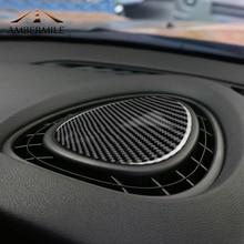 AMBERMILE In Fibra di Carbonio Auto Console di Uscita Aria Vent Della Copertura Adesivi Rivestimenti interni per Mini Cooper JCW Un F56 F55 F54 accessori