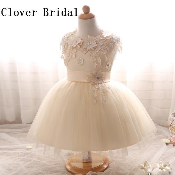 Flower     Girl     Dresses   Ivory Lace Puffy Tulle   Girls   Pageant   Dresses   Vestidos De Primera Comunion Kids Evening Gowns