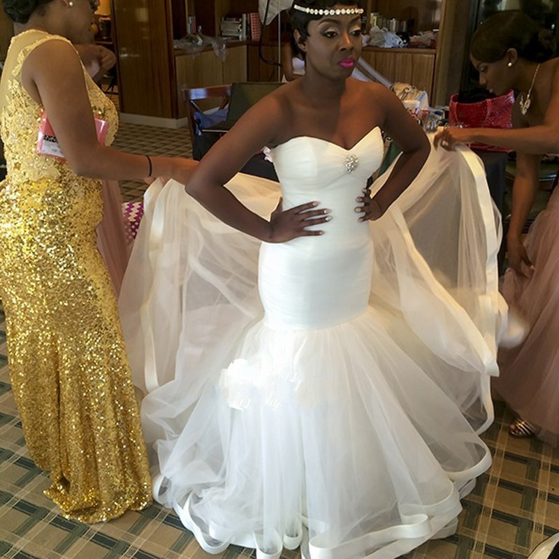 Pictures Of Gowns For Wedding: Simple Tulle Sweetheart Cheap Bridal Dresses African