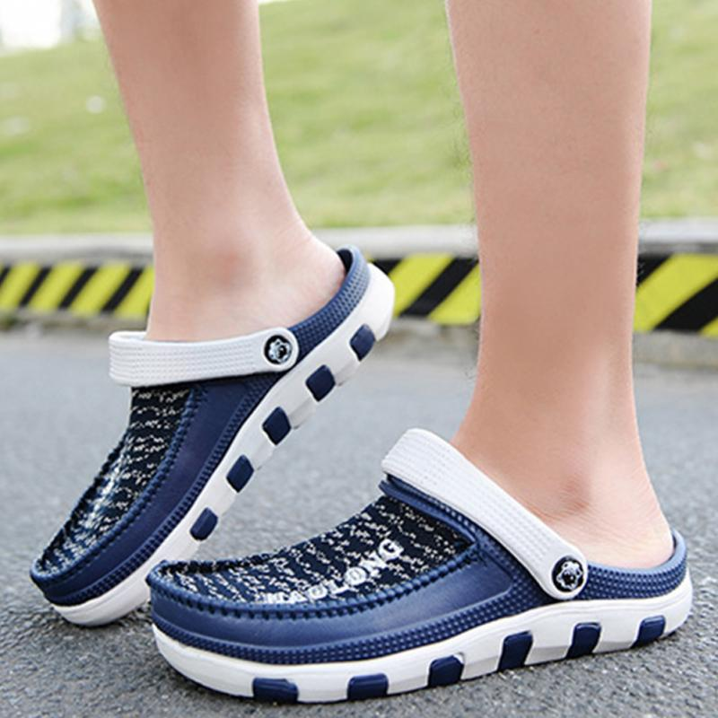 New Hot Spring Summer Slippers Men Slippers Breathable Mesh Hollow Out Sandals Leisure Shoes leisure men s loafers with hollow out and stitching design