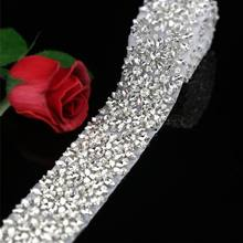 1 Yard Rhinestone di Lusso Appliques Trim, di Cristallo Applique Da Sposa Sash Applique Larghezza: 2.2 Pollici(China)