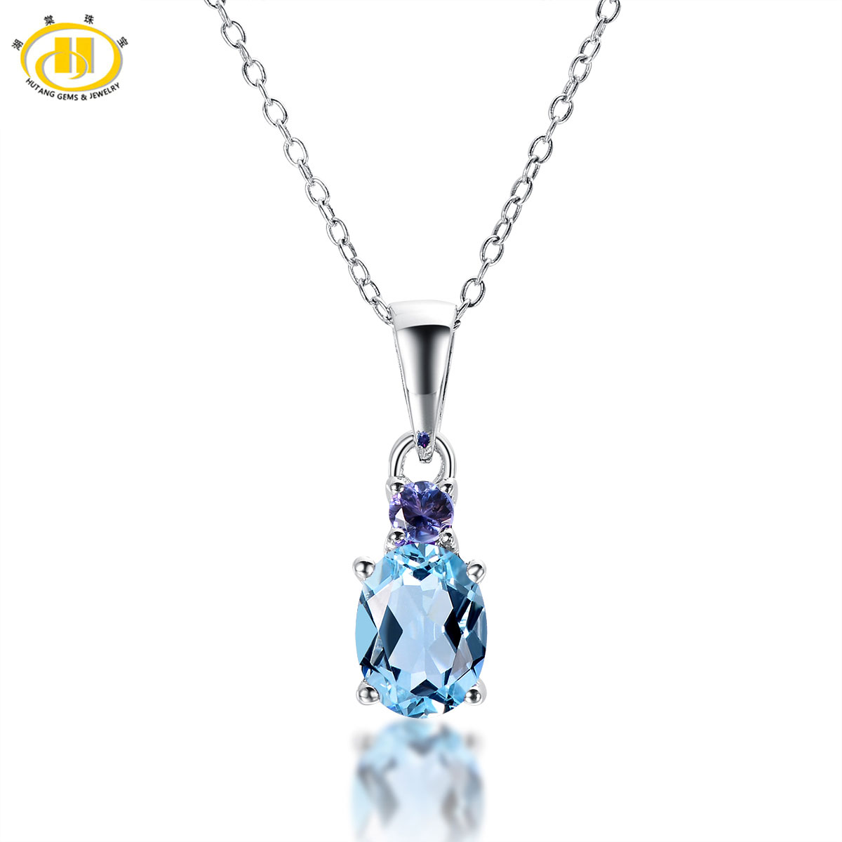 Hutang Classic Natural Blue Topaz & Tanzanite Solid 925 Sterling Silver Pendant Necklace Gemstone Fine Jewelry For Women's Gift