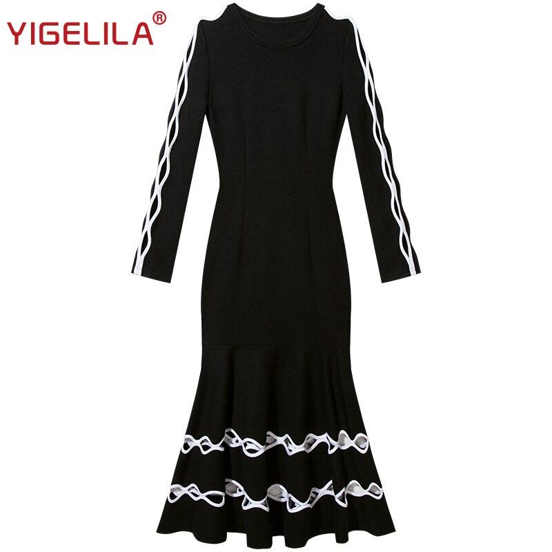 Régulier Évider Femmes cou Vintage Robe Printemps Tricoté Solide 2019 Long O Noir Dernière Manches Yigelila High Fashion 64287 Street À BwRz8Pq