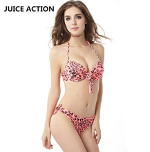 JUICE ACTION Sexy Summer Halter Womens Bikini Set Red Leopard Pattern Swimsuit Beacwear Swimwear Bikinis Bathing