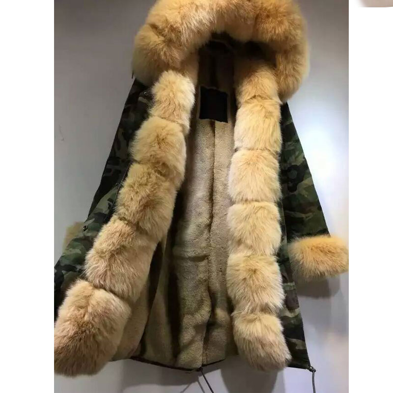 Camouflage jacket light Apricot fox fur hood with Apricot faux fur lining coat