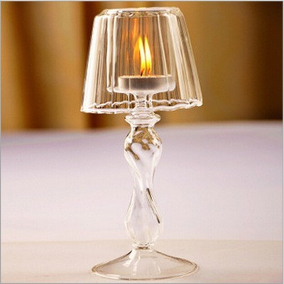Table Top Romantic Crystal Candlestick Transparent Crystal Candle Holder  With Lamp Shade Christmas Wedding Candlelight Ornament