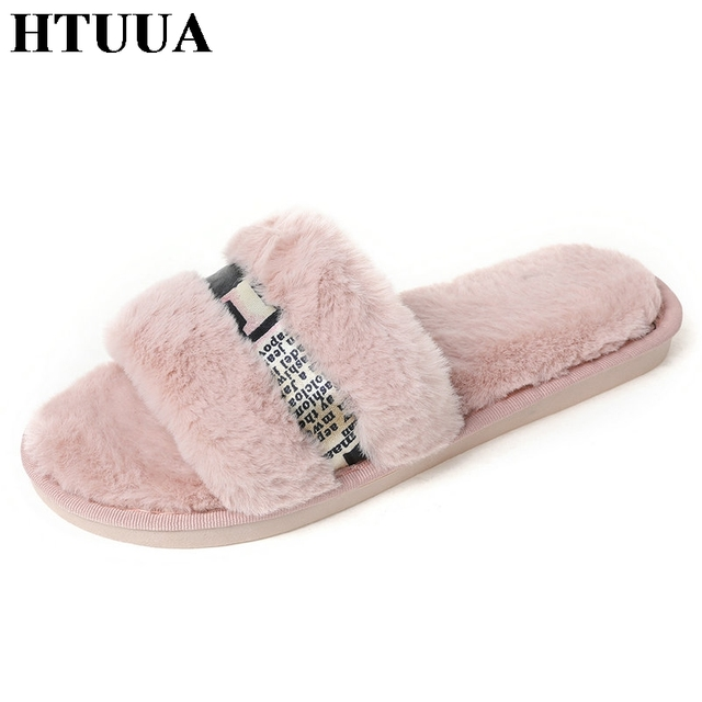 HTUUA Cozy Damens Schuhes Damens Cozy Faux Fur Slippers Fashion Metal Bling Fluffy b32339