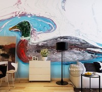 Free Shipping 3D Stereo Duck Lake Oil Painting Living Room Bedroom Hotel Wallpaper Art Exhibition Office