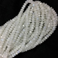Natural Genuine White Blue Light Moonstone Hand Cut Loose Gemstone Faceted Rondelle Beads 15 05908