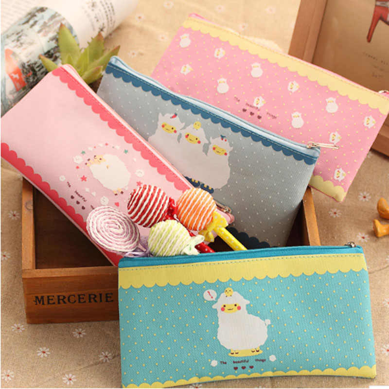 Kawaii Sheep Pencil Bag Cheap Cartoon Pencil Cases School Office Stationery Jeans Fabric Zipper Cute Pen Holder Promotion Bags